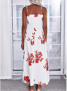 Floral Print A-line Sleeveless Maxi Casual Vacation Skater Type Dresses