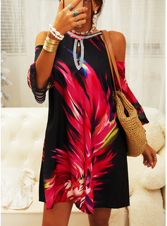 Print Shift 3/4 Sleeves Cold Shoulder Sleeve Mini Casual Tunic Dresses