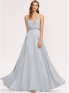 A-Line One-Shoulder V-neck Floor-Length Jersey Evening Dress