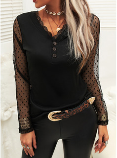 Lace Solid V-Neck Long Sleeves Button Up Casual Blouses