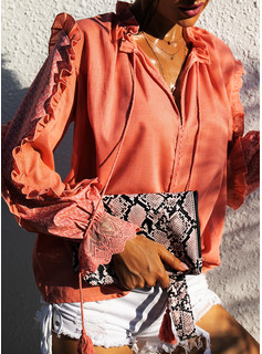 Lace Solid V-Neck Long Sleeves Casual Elegant
