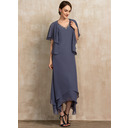 A-Line V-neck Ankle-Length Chiffon Mother of the Bride Dress With Beading (008217298)