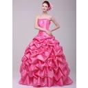 Ball-Gown Sweetheart Floor-Length Taffeta Quinceanera Dress With Ruffle Flower(s) (021016170)