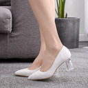 Kids' Satin Chunky Heel Closed Toe Pumps With Crystal Heel