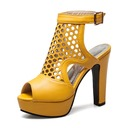 Women's PU Chunky Heel Sandals Pumps Platform Peep Toe Slingbacks shoes