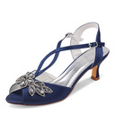 Women's Silk Like Satin Stiletto Heel Peep Toe Pumps With Buckle Rhinestone