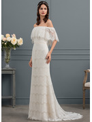 Trumpet/Mermaid Off-the-Shoulder Sweep Train Lace Wedding Dress With Bow(s)