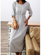 Striped A-line 3/4 Sleeves Midi Casual Skater Dresses