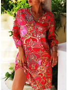 Print Shift 1/2 Sleeves Midi Casual Vacation Tunic Dresses
