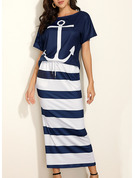 Print Striped Sheath Short Sleeves Maxi Casual Dresses