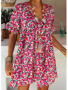 Floral Print Shift Short Sleeves Mini Casual Vacation Tunic Dresses
