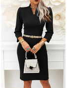 Solid Sheath 3/4 Sleeves Puff Sleeves Midi Little Black Elegant Dresses
