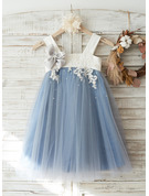 A-Line/Princess Knee-length Flower Girl Dress - Tulle/Lace Sleeveless Straps With Appliques
