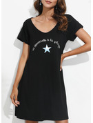 Print Shift Short Sleeves Mini Casual T-shirt Dresses