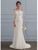 Trumpet/Mermaid Off-the-Shoulder Sweep Train Chiffon Wedding Dress