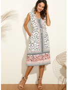 Print A-line Sleeveless Midi Casual Vacation Dresses