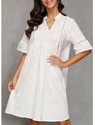 Lace Solid Shift 1/2 Sleeves Midi Casual Vacation Tunic Dresses