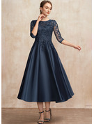 A-Line Scoop Neck Tea-Length Satin Lace Mother of the Bride Dress With Sequins
