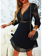Lace Solid A-line Long Sleeves Puff Sleeves Mini Little Black Party Sexy Skater Dresses