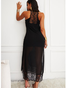 Lace Solid Shift Sleeveless Maxi Little Black Casual Vacation Type Dresses