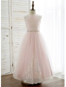 A-Line/Princess Ankle-length Flower Girl Dress - Tulle/Lace Sleeveless Scoop Neck With Rhinestone