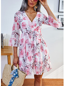 A-line 1/2 Sleeves Mini Casual Skater Dresses