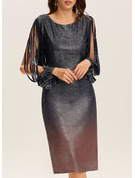 Sequins Sheath Long Sleeves Midi Party Dresses