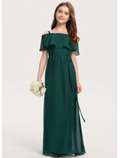 A-Line Off-the-Shoulder Floor-Length Chiffon Junior Bridesmaid Dress With Bow(s)