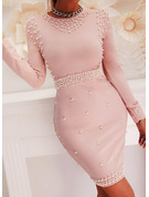 Solid Beaded Bodycon Long Sleeves Midi Elegant Pencil Dresses