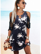 Floral Print A-line 1/2 Sleeves Midi Casual Skater Dresses