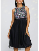 Sequins A-line Sleeveless Midi Party Dresses