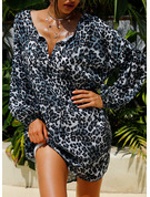Leopard Shift Long Sleeves Mini Casual Dresses