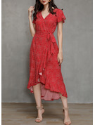 Print A-line Short Sleeves Asymmetrical Casual Vacation Wrap Dresses
