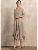 A-Line Scoop Neck Tea-Length Chiffon Lace Mother of the Bride Dress With Bow(s)