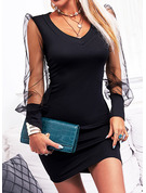 Solid Bodycon Lange ermer Mini Lille svarte Party Elegant Motekjoler