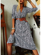 Print A-line 1/2 Sleeves Maxi Casual Skater Dresses