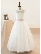 Ball-Gown/Princess Scoop Neck Floor-Length Tulle Junior Bridesmaid Dress With Sash Beading Bow(s)