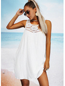 Lace Solid Shift Sleeveless Mini Casual Vacation Dresses