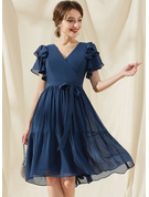 A-Line V-neck Knee-Length Chiffon Cocktail Dress With Bow(s) Cascading Ruffles