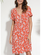 Floral Print Shift Short Sleeves Mini Casual Tunic Dresses