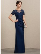 Sheath/Column Scoop Neck Floor-Length Lace Jersey Evening Dress With Beading Sequins