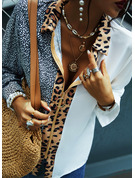 Leopard Print V-Neck Long Sleeves Casual Shirt Blouses
