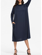 Solid Shift Long Sleeves Maxi Midi Casual Dresses