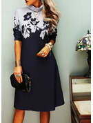 Floral Print Shift Long Sleeves Midi Casual Dresses