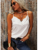 Leopard Lace Spaghetti Straps Sleeveless Button Up Casual Sexy Tank Tops