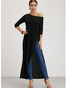 Solid Shift 3/4 Sleeves Maxi Casual Sweater Dresses