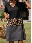 Leopard Color Block Shift Short Sleeves Midi Casual Tunic Dresses