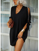 Solid Shift 1/2 Sleeves Cold Shoulder Sleeve Midi Little Black Elegant Tunic Dresses