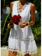 Lace A-line Sleeveless Mini Casual Vacation Skater Dresses