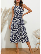 Print A-line Sleeveless Midi Casual Dresses